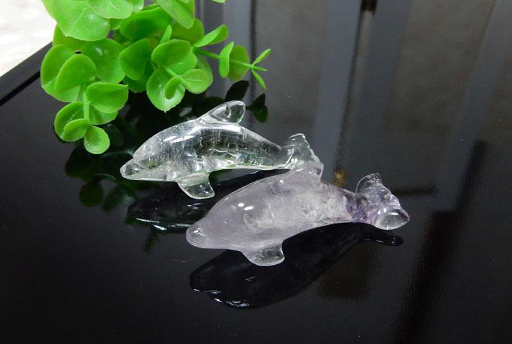 ラベンダーアメジストと水晶のイルカさんセット