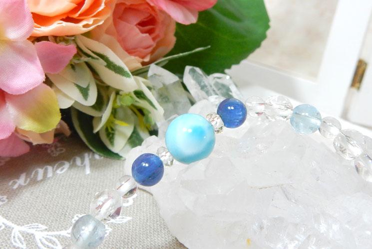 【特価品】ラリマーとカイヤナイトのブレスレット-3