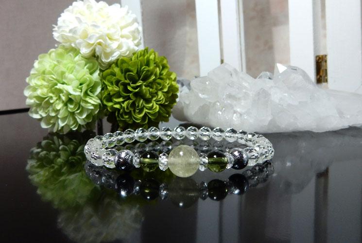 リビアンデザートグラスとクォーツ(水晶)のブレスレット-3