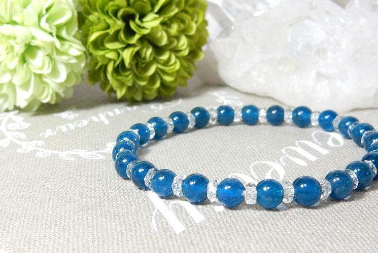 ブルーアパタイトとクォーツ(水晶)のブレスレット-0