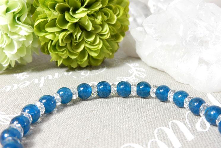 ブルーアパタイトとクォーツ(水晶)のブレスレット-1