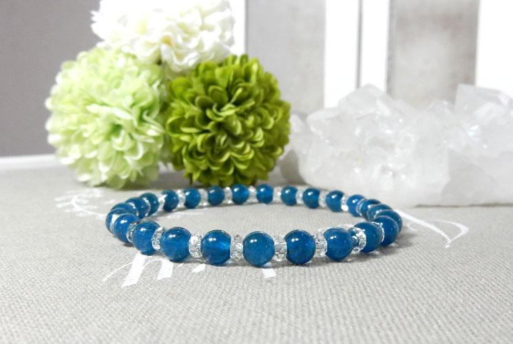 ブルーアパタイトとクォーツ(水晶)のブレスレット-2