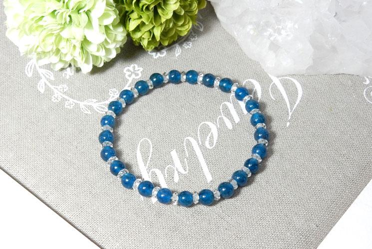 ブルーアパタイトとクォーツ(水晶)のブレスレット