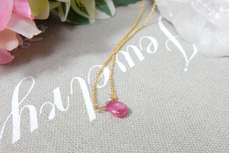ピンクサファイアの1粒ネックレス-1