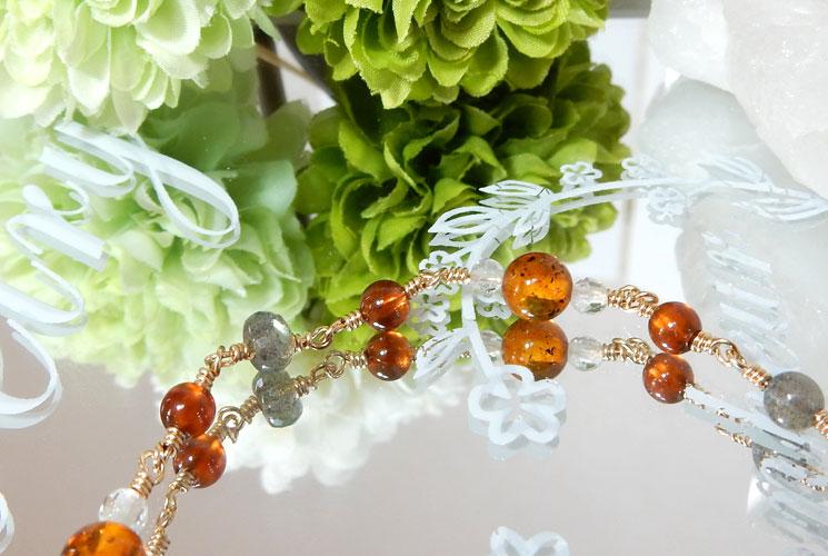 オレンジガーネットとアンバー(琥珀)のチェーンブレスレット-1