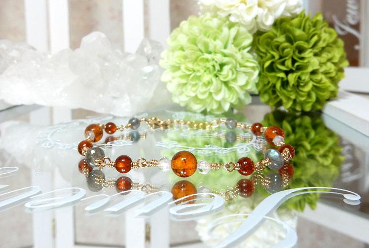 オレンジガーネットとアンバー(琥珀)のチェーンブレスレット-2