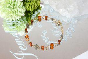 オレンジガーネットとアンバー(琥珀)のチェーンブレスレット(18-br0101-19)