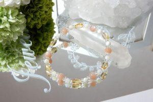 オレンジムーンストーンとシトリンのブレスレット(18-br0426-02)