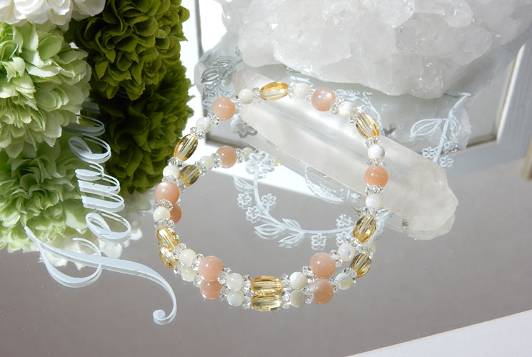 オレンジムーンストーンとシトリンのブレスレット