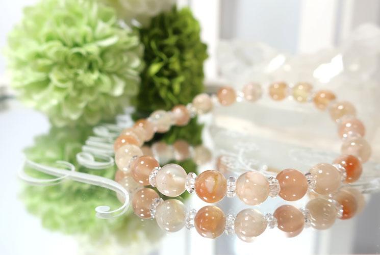 桜めのうとクォーツ(水晶)のブレスレット-0