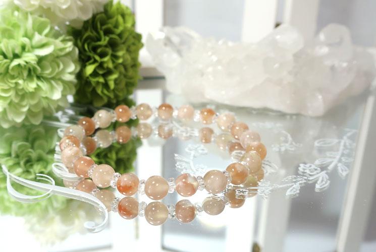 桜めのうとクォーツ(水晶)のブレスレット-1