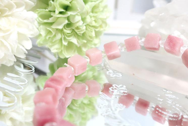 ピンクオパールとクォーツ(水晶)のブレスレット-1