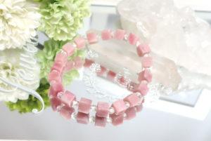 ピンクオパールとクォーツ(水晶)のブレスレット(18-br1212-05)