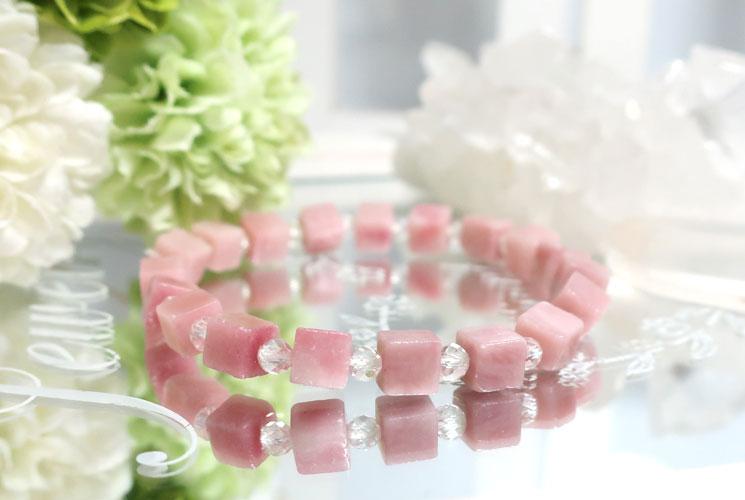 ピンクオパールとクォーツ(水晶)のブレスレット-3