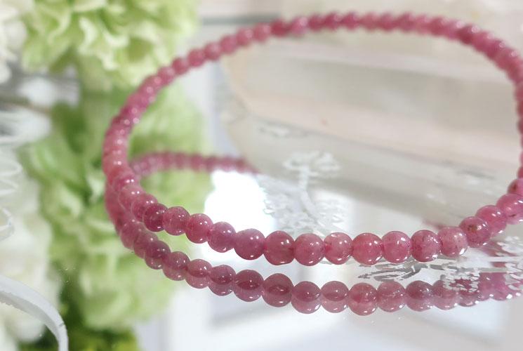 ピンクトルマリンの華奢ブレスレット-0