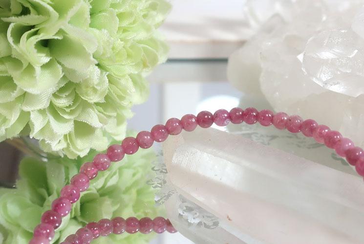 ピンクトルマリンの華奢ブレスレット-1