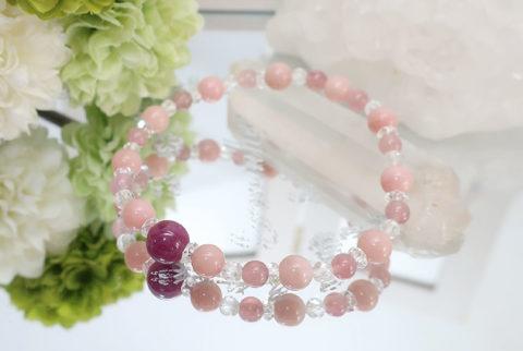 ピンクオパールとルビーのブレスレット(19-br1210-01)