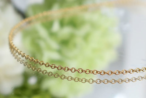 【14KGF】ネックレスチェーン(あずき1.1mm)45cm(19-chain1121-03)