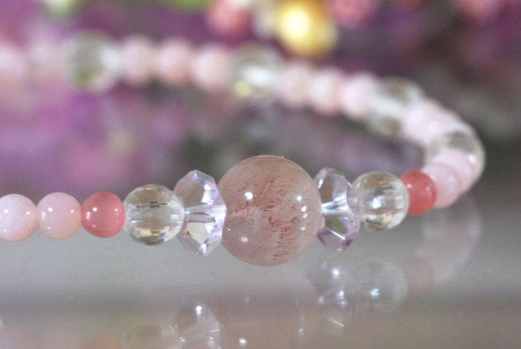 【限定】ピンクオパール & ピンクスーパーセブン ブレスレット 005-0