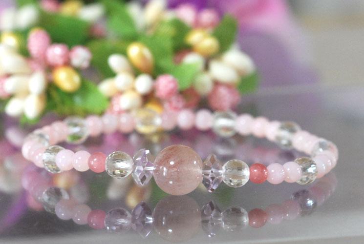 【限定】ピンクオパール & ピンクスーパーセブン ブレスレット 005-2