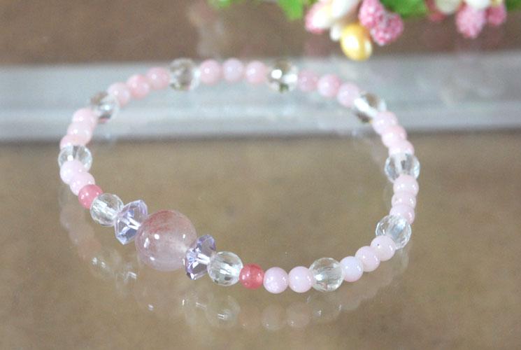 【限定】ピンクオパール & ピンクスーパーセブン ブレスレット 005